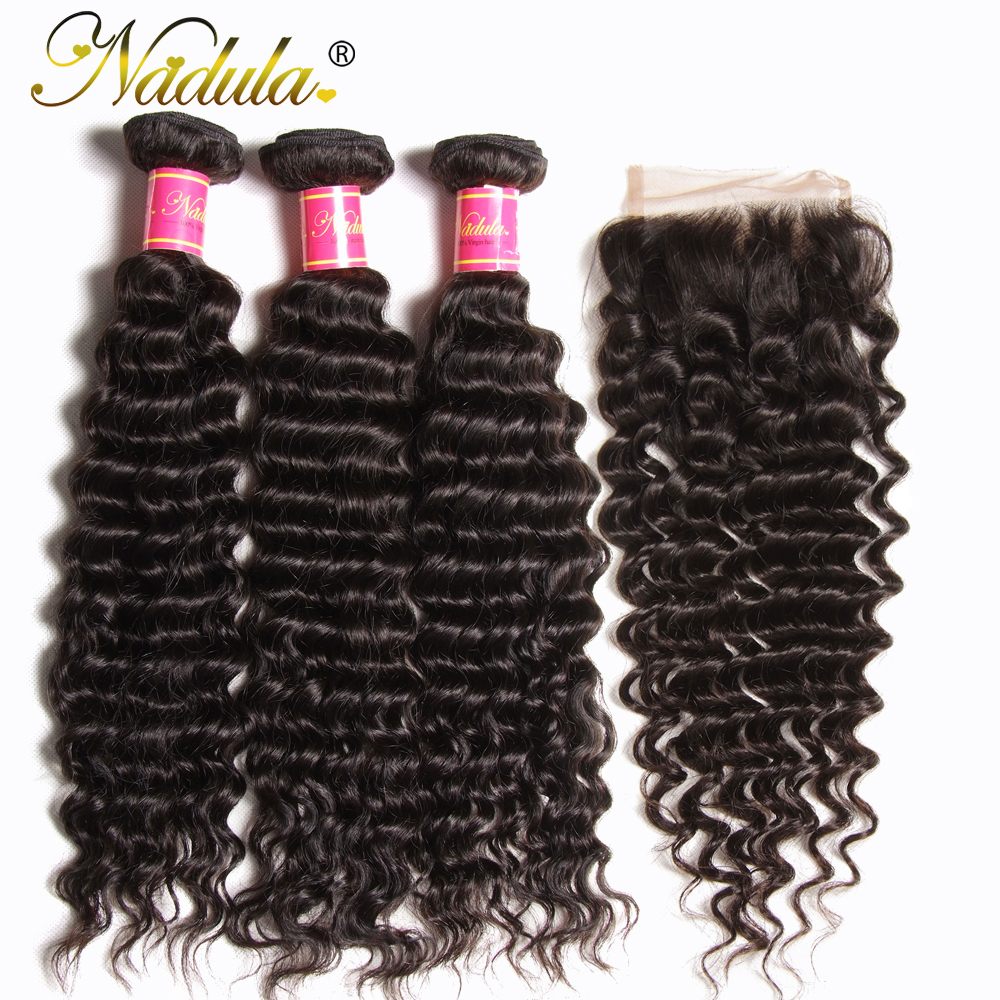 Nadula Hair Malaysian Deep Wave Bundles With Closure 10 28 inch 100 Remy Human Hair Extensions