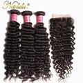 Nadula Haar Malaysische Tiefe Welle Bundles Mit Verschluss 10-28 zoll 100% Remy Menschliches Haar Extensions Mit Spitze Verschluss natürliche Farbe