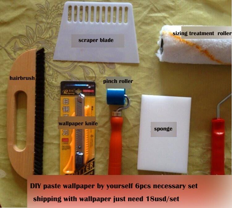 diy install wallpaper tool necessary 6 pcs per set + install process instruction in website