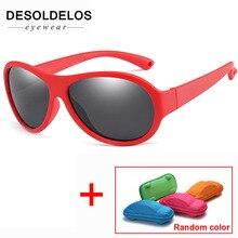 Дети поляризованных солнцезащитных очков детей Овальные Солнцезащитные очки для мальчиков и девочек силиконовые UV400 ребенка зеркало детские очки Gafas TR90 с коробкой