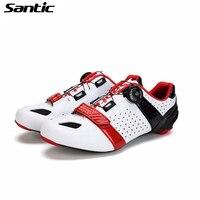 SANTIC углеродного волокна на велосипеде велосипед обувь Для мужчин дорожный велосипед обувь Сверхлегкий дороги велосипед обувь дышащая обув