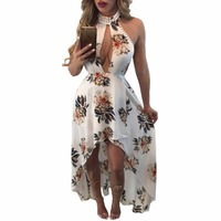 Women Dress Summer 2017 Long Casual Black White Backless Sexy Off Shoulder Floral Print High-low Halter Maxi Boho Dress