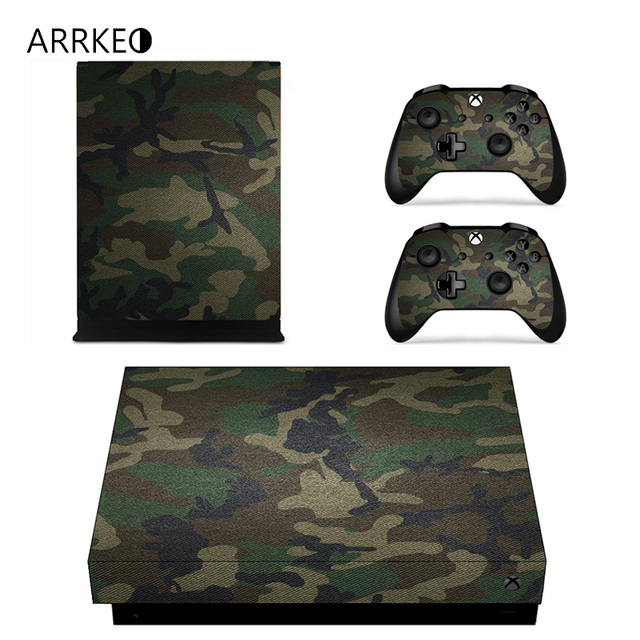 Arrkeo camouflage army green camo vinyl cover decal xboxone x skin sticker for xbox one x
