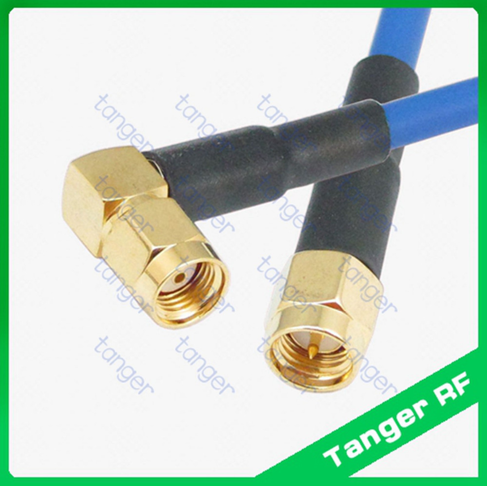 SMA male to RP-SMA male right angle connector RG402 RG141 RG-402 Blue 20in 50cm RF Semi Flexible Cable Coaxial Jumper Pigtail tanger n to sma male plug straight connector with rg402 rg141 rg 402 coaxial jumper semi flex cable 8in 8 20cm rf low loss coax