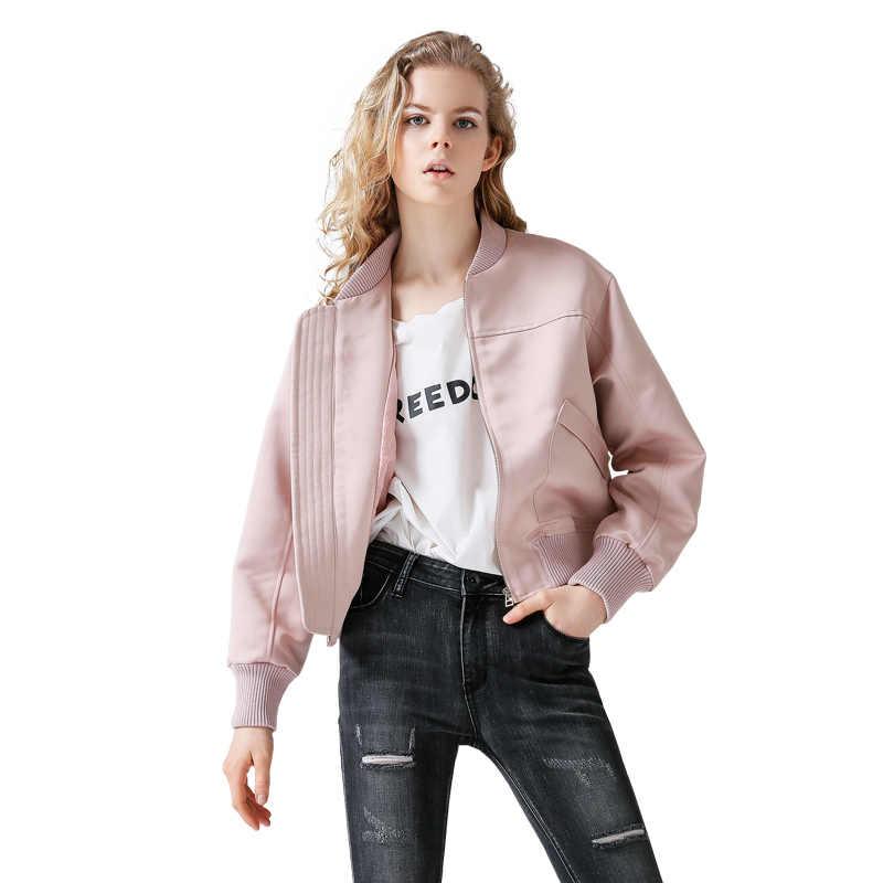 Toyouth أروع الخريف Bomber سترة الموضة الصلبة المرأة الوردي الأسود سترات للعبة البيسبول جيوب مزدوجة معطف قصير ملابس خارجية