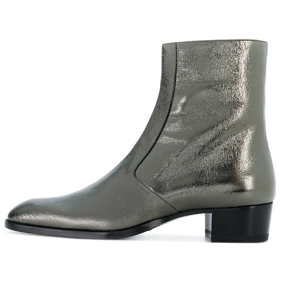 2018 New Genuine Leather gray Sliver Sexy Ankle Boots Wedge high heels plataform Boots pointed toe Men Botas2018 New Genuine Leather gray Sliver Sexy Ankle Boots Wedge high heels plataform Boots pointed toe Men Botas
