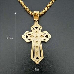 Image 4 - 2019 neueste Iced Out Edelstahl Big Kreuz Anhänger Halskette für Männer Gold Farbe Christian Cruzar Halskette Religiöse Schmuck