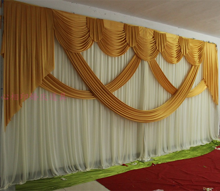 6 meter length wedding backdrop party decoration ice silk fabric drapery gold swag stage background drape curtain backdrop swags