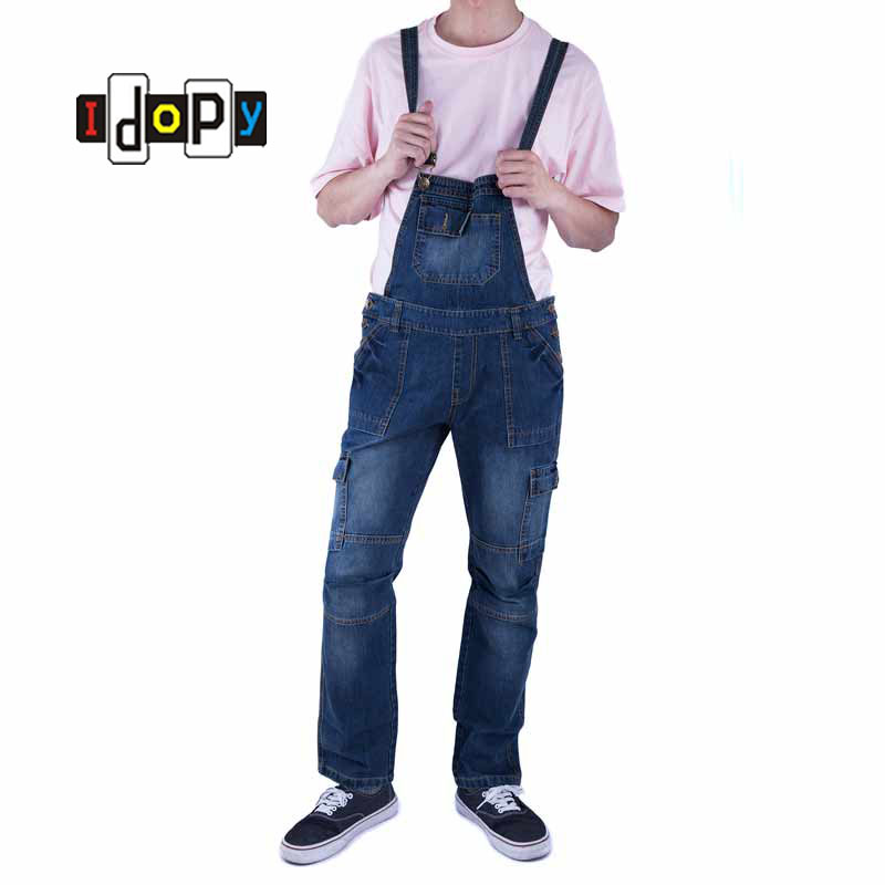 Classic Men Plus Size Denim Bib Overalls Multi Pockets Light Washed Blue Oversized Jean Jumpsuits For Male Big and Tall