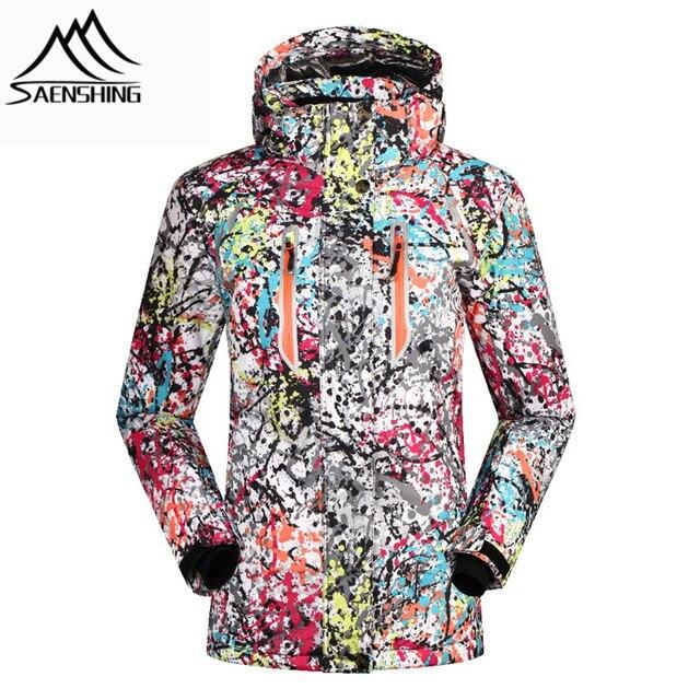 SAENSHING 2016 лыжная куртка женщины зима снег водонепроницаемый ветрозащитный сноуборд пуховик граффити печати женские куртки девушка одежда