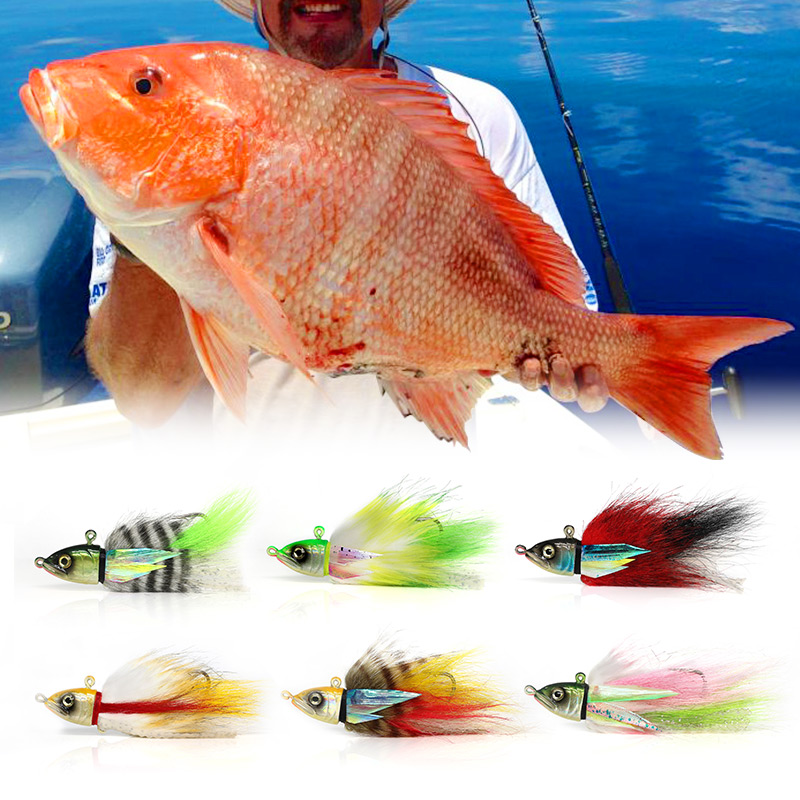 Bucktail Jig fishing lure Snapper jigging 40g 60g 80g125g steel head hook saltwater deep sea trolling bait for tuna ulna Sealure 6 5 inch jig head octopus skirt bait sea tackle tuna lure trolling fishing lure copper head double skirt with line and hook