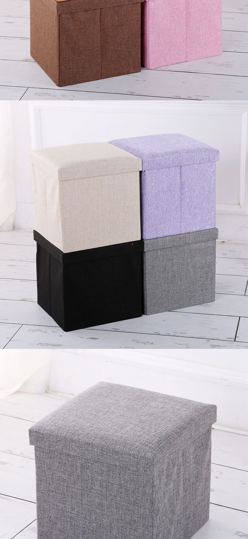 Folding Storage Ottoman Seat Stool Storage Boxes Home Chair Footstool Bench Grey