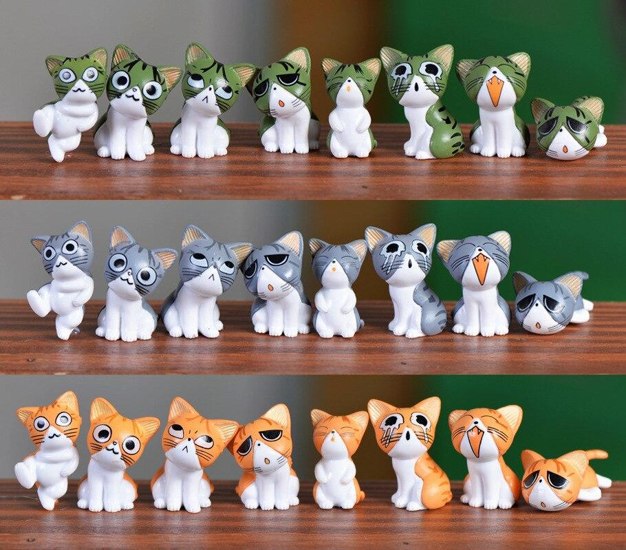 (8pcs/lot) Cheese cat miniature figurines toys cute lovely Model Kids Toys 1.5-3cm Japanese anime children figure world. PY166
