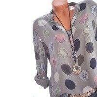 2018 Women Blouse Dot Printed Long Sleeved Shirt Sexy Office Lady Blouse Shirts Blusa Feminine Tops