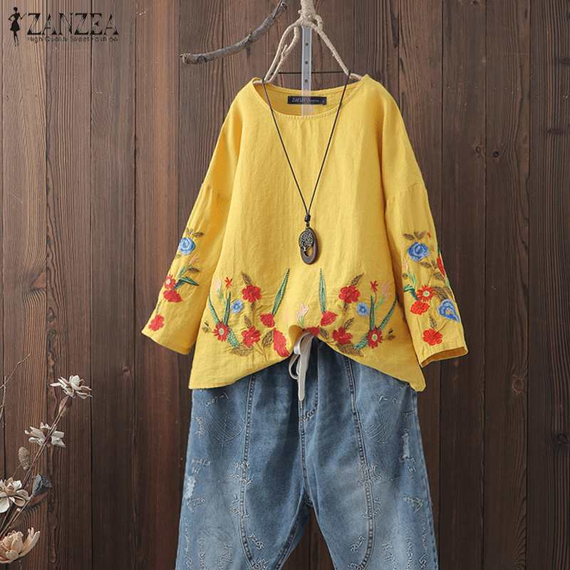 Summer   Blouse   ZANZEA Women Vintage Floral Embroidery Long Sleeve Tunic Tops Robe Casual Party Blusas Femme Cotton Linen   Shirt