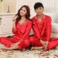 2016 nuevo estilo de los pares Pijamas modal Pijama de manga larga para las mujeres de seda pijamas hombres y mujeres de los Pijamas