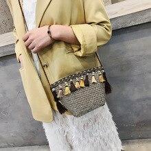 цена на Straw Bag Women Crossbody Bags Straw Woven Fringed Beach Bag Sac Paille Bucket Shoulder Bag Sac Main Femme Bolso Mujer Summer