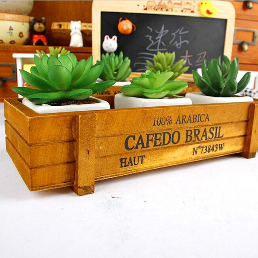 Винтаж деревянный Коробки ящики цветочный горшок Кухня брелок Desktop чехол для хранения 5,2 ...