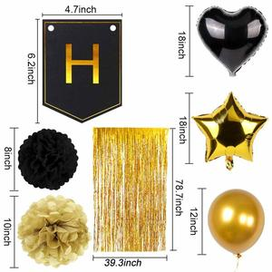 Image 5 - OurWarm 51Pcs Birthday Party Decorations Set Black Gold Happy Birthday Banner Balloons Paper PomPoms Foil Tinsel Fringe Curtain