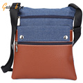Guapabien Casual Women Men Messenger Crossbody Bag Multi Function Zipper Motorcycle PU Leather Denim Patchwork Unisex Bag