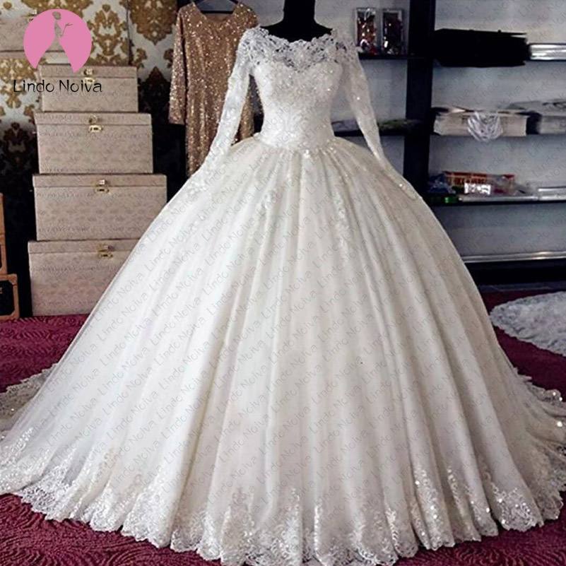 Vestido De Noiva Long Sleeve Ball Gowns Wedding Dress 2019 Appliques Lace Plus Size Lace White