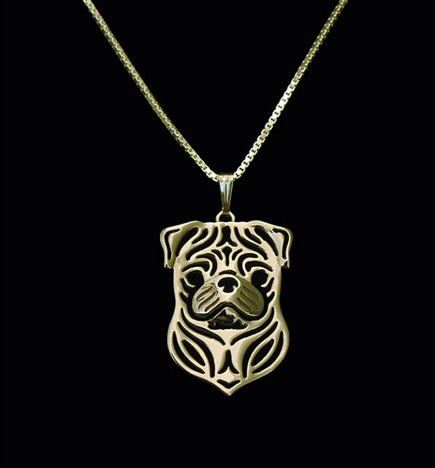 Hot Sale 10pcs Gold Pug Terrier Necklace 3D Cut Out Pug Puppy Dog Lover Pendant Memorial Necklaces Pendants Christmas Gift
