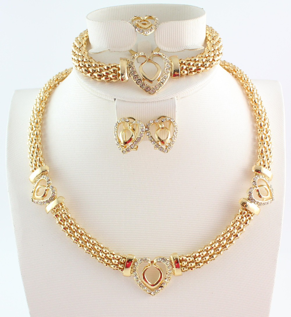 Free shipping hot sale heart design costume necklace set for Top fashion jewelry designers