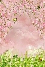 Primavera Flores Aves Pastagens Laeacco Fundos Personalizado Da Foto do Retrato Do Bebê Recém-nascido Fotografia Backdrops Para Estúdio de Fotografia