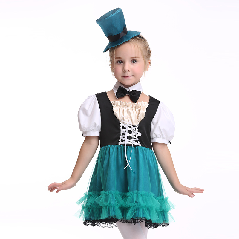 Girls Halloween Costume for Kids Short Sleeves Dress Mesh Children Fancy Cosplay Costumes with Hat Children Party Girl Clothing kids halloween costumes cosplay caribbean pirates costumes captain jack children role playing children party clothes