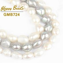 "9-10mm Gray Irregular Natural Freshwater Pearl Freeform Shape DIY Gems Loose Beads 15""Strand Making Bracelet Necklace Jewelry(China)"