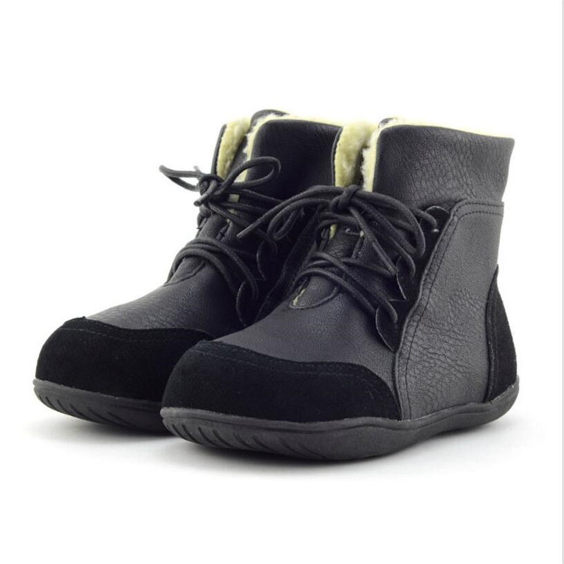 цена на Genuine leather child slip-resistant female snow boots child boots male medium-leg child cotton-padded shoes soft outsole