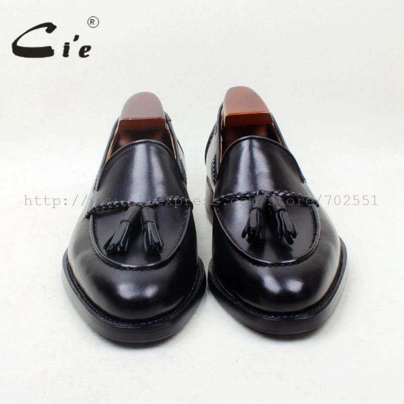cie Round Toe 100% Genuine Leather Outsole Bespoke Goodyear Welted Custom Handmade Black  Tassels Slip-on Men's Shoe loafer 158