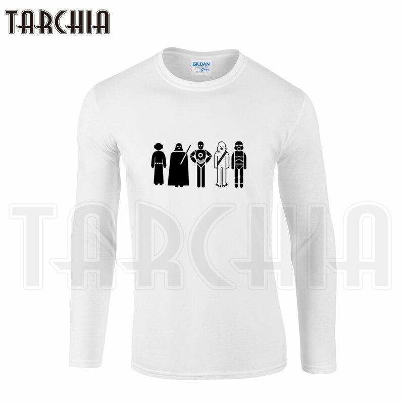 TARCHIA New Fahion T Shirts Free Shipping Star Wars Men's Long Sleeve T-Shirt 100% Cotton T Shirt Plus Size Mace Windu Obi-Wan