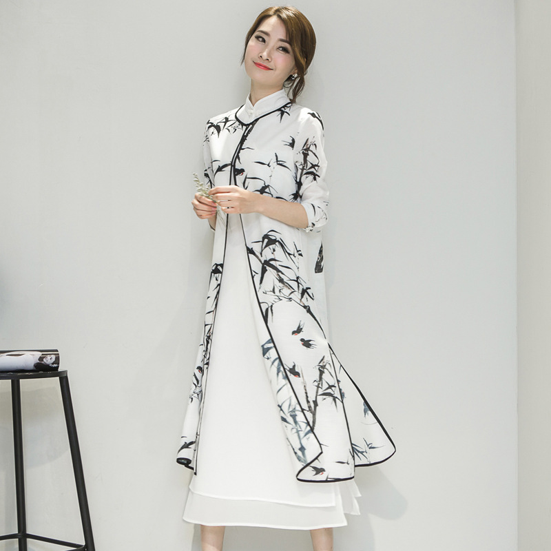 2 PIECE Summer Women Cheongsam Dress Lady Vintga Chinese Traditional Qipao Chinese Oriental Dresses Wedding Evening Dress 90