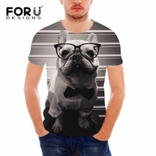 FORUDESIGNS 3D French Bulldog Printed Men T Shirts Cool Animal Dog Men Short Sleeves Summer T-shirt Crossfit Boys Casual Tees