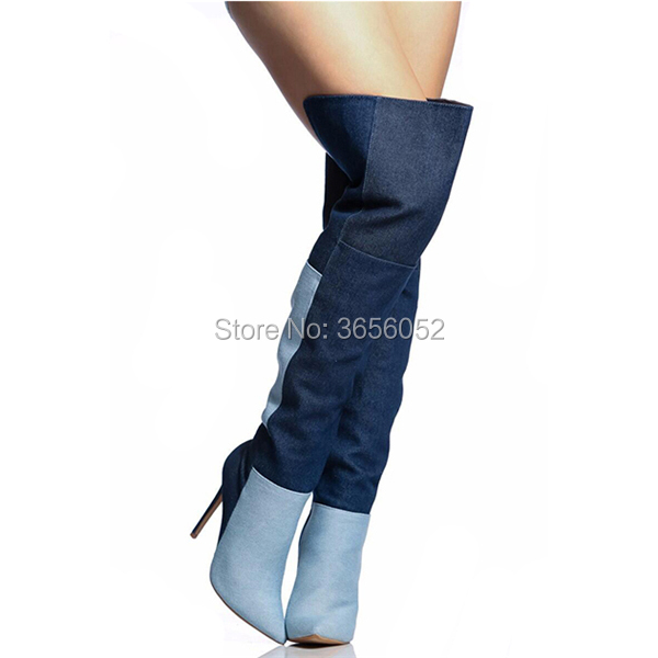Color Mezclado Por Vaquera Botas Pic Mujer Pic Punta Delgada De Zapatos Encima Stiletto La Rodilla as Qianruiti Denim As Tacones Zapatillas SdqwSA
