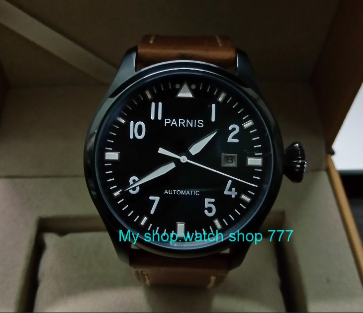 47mm PARNIS Automatic Self-Wind Mechanical movement men's watch Black dial PVD case luminous Mechanical watches zdgd114a sapphire 2017 new fashion parnis 45mm black dial st2557 automatic self wind movement men s watch gmt mechanical watches 291