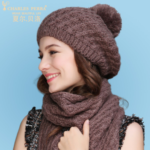 Image 2 - Charles Perra Women Hat Scarf Sets Autumn Winter New Knitted Hats Fashion Elegant Casual Warm Beret Style Female Beanies 2321