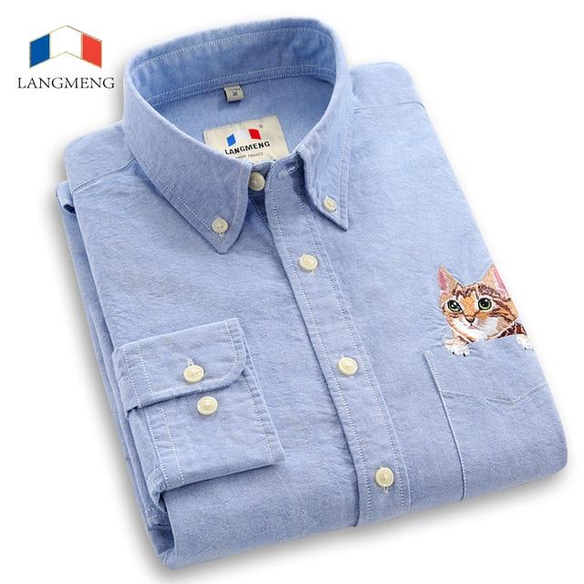 Langmeng 100% хлопок весна осень мужчины с длинным рукавом повседневная рубашка мужчин slim fit рубашки сорочка homme camisa masculina