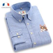 Langmeng 100% baumwolle frühling herbst männlichen langarm freizeithemd männer slim fit hemden chemise homme camisa masculina