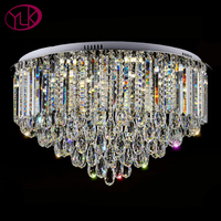 Round Design Living Room Lamp For Ceiling Luxury Foyer Crystal Chandelier Modern Lustre LED Cristal Home