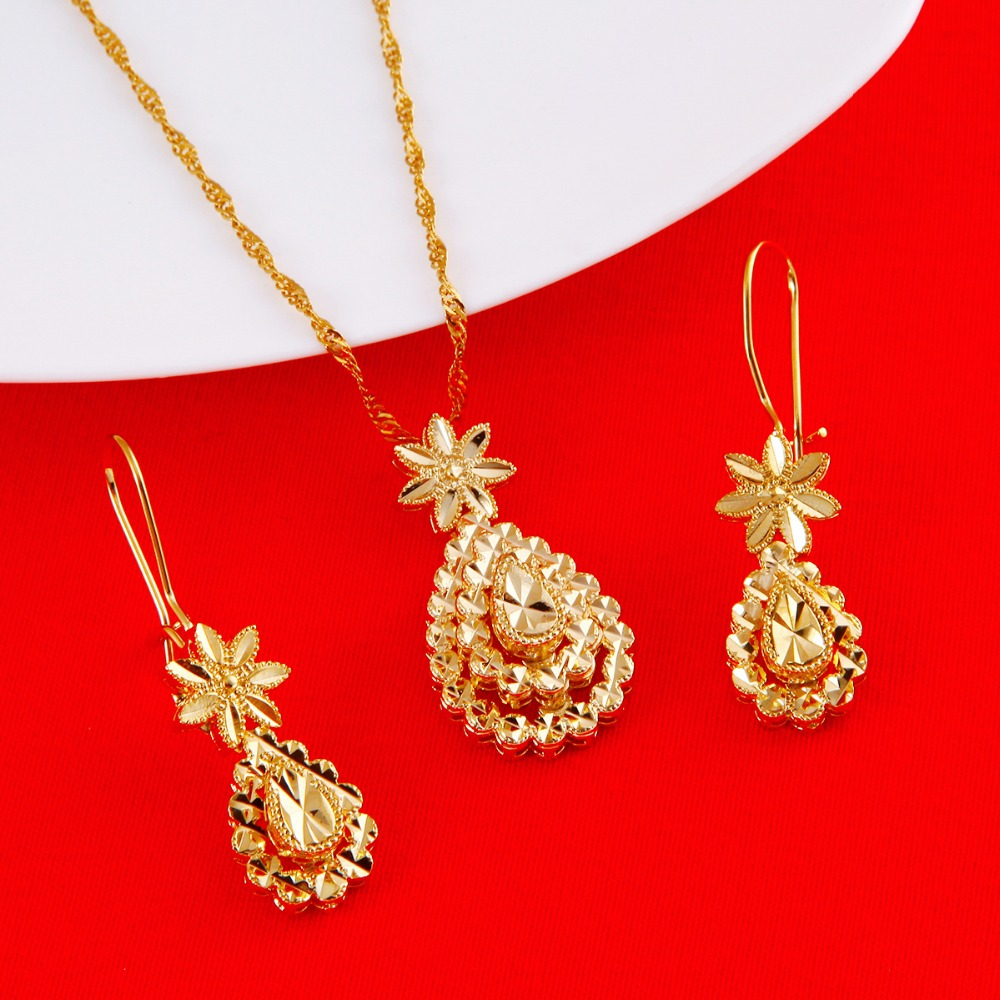 Flower African Dubai Bride Jewelry Sets 24K Gold Color Necklace Earrings Pendant Jewelry Gifts