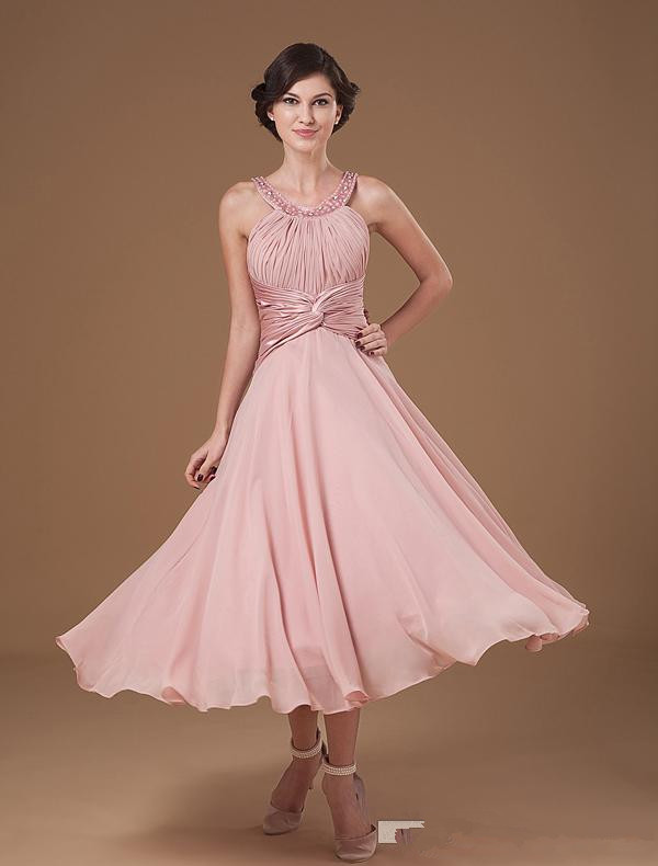 2016 Chiffon Pearl Pink Short Bridal Dresses Tea Length Scoop Beading Neckline Mother Of Bride Ruffle Military In The