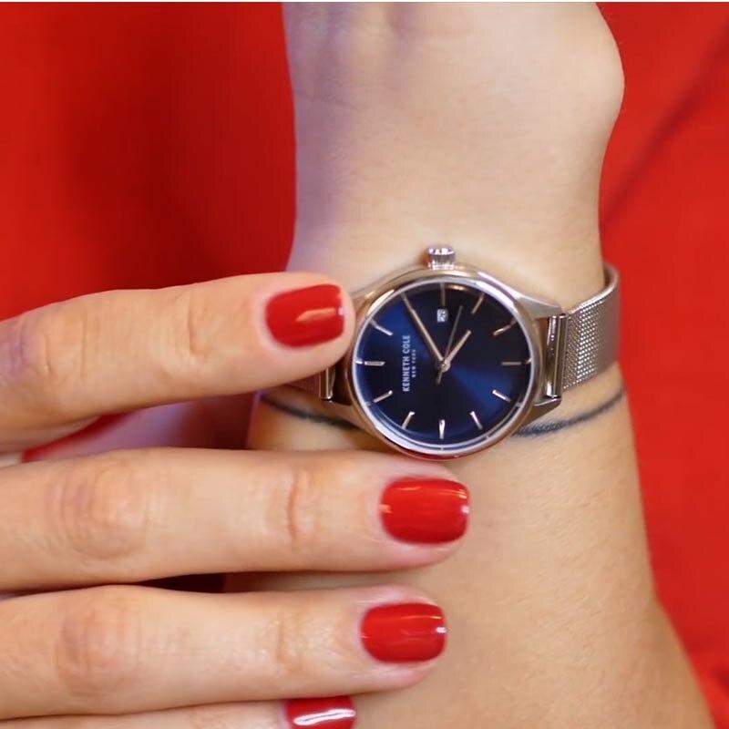 Kenneth Cole Womens часы цвета: золотистый, Серебристый браслет простой кварцевые Нержавеющаясталь Водонепроницаемый Элитный бренд часы KC10030840