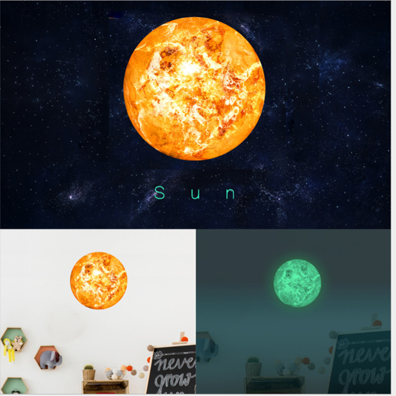 Solar System Glowing Wall Stickers For Kids Rooms Stars Outer Space Sky Wall  Decal Planets Earth Part 92