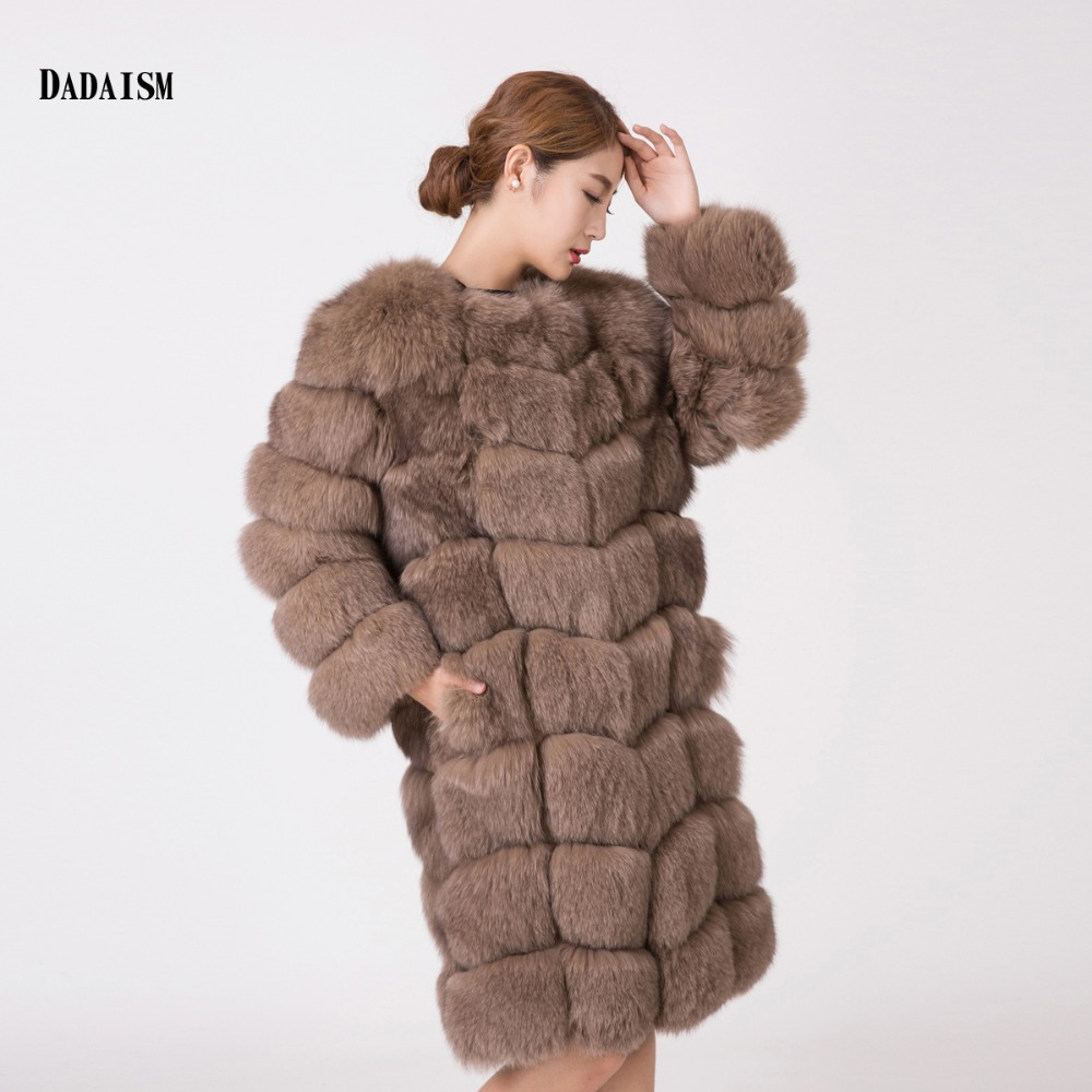 2016 new fashion leather coat fox fur font b Women s b font Long khaki long