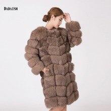2016 new fashion leather coat fox fur Women's Long khaki long-sleeved jacket free shipping