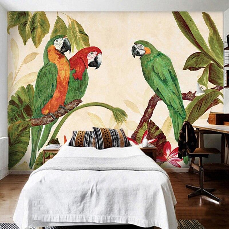Photo Wallpaper 3D Pastoral Retro Tropical Rain Forest Parrots Oil Painting Mural Wall Paper Bedroom Restaurant Backdrop Wall 3D