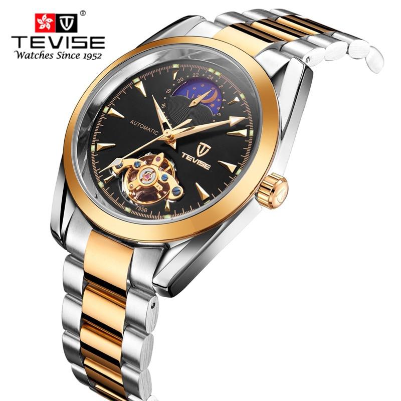 Relogio Masculino TEVISE Luxury Brand Watch Men Tourbillon automatic Mechanical watches Moon Phase Skeleton wrist watch