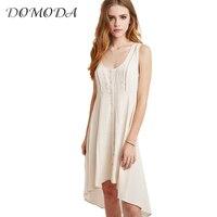 DOMODA Solid Beige Summer Dress Women High Low O Neck Sleeveless Midi Dress Ladies Sweet Lace